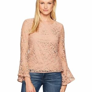 Adrianna Papell Lace Blush Pink Long Sleeve Top HP